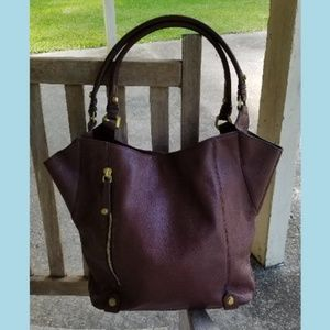 orYANI Aquarius Wine Pebbled Leather Shopper Tote